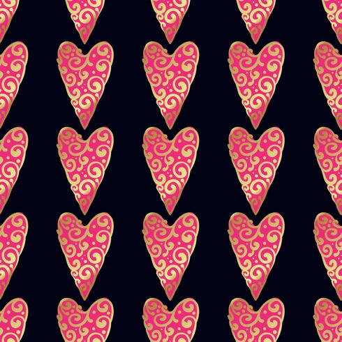 Seamless gold pattern with hearts.  vector