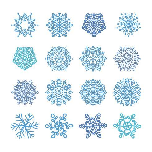 Divers flocons de neige d'hiver