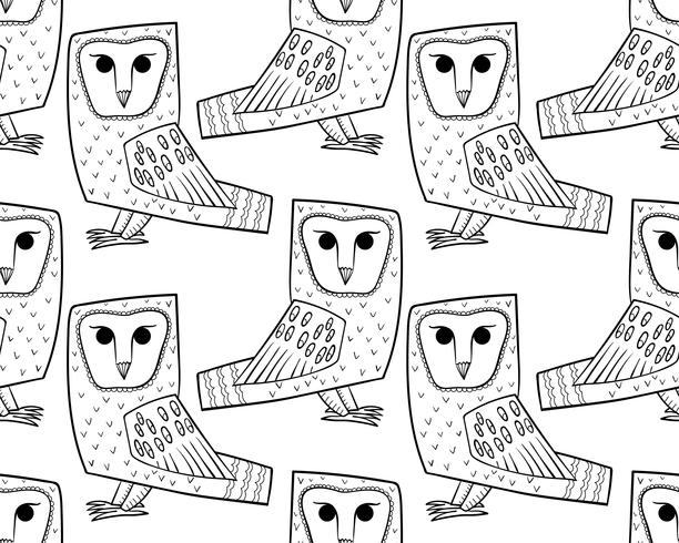 Barn owl. A seamless pattern in the handdrawn vector