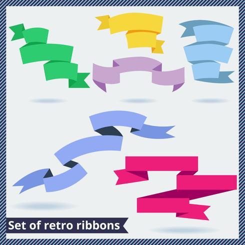 Conjunto de cintas retro y planas. vector