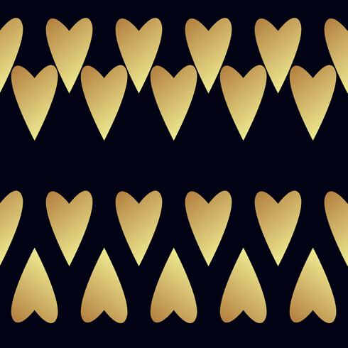 Sömlöst guldmönster med hjärtan.
