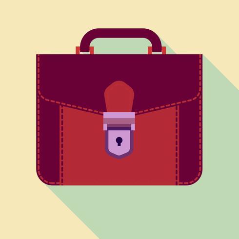 Icono maletín, portafolio de cuero, diseño plano.