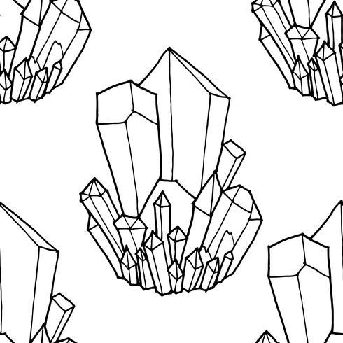 Seamless svartvitt mönster med kristaller