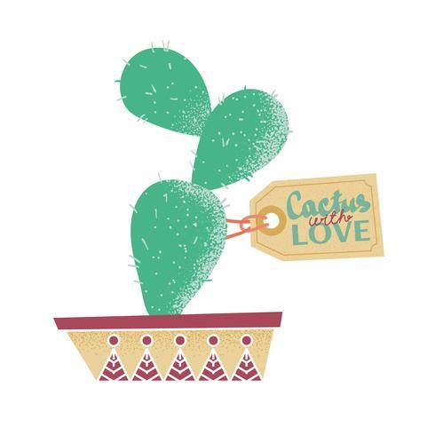 Cactus em uma panela. Impressão.