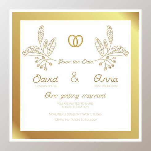 Invitación de boda romántica con anillos de oro.