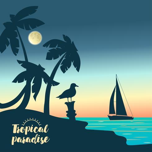 Yate en una puesta de sol y siluetas de palmeras.