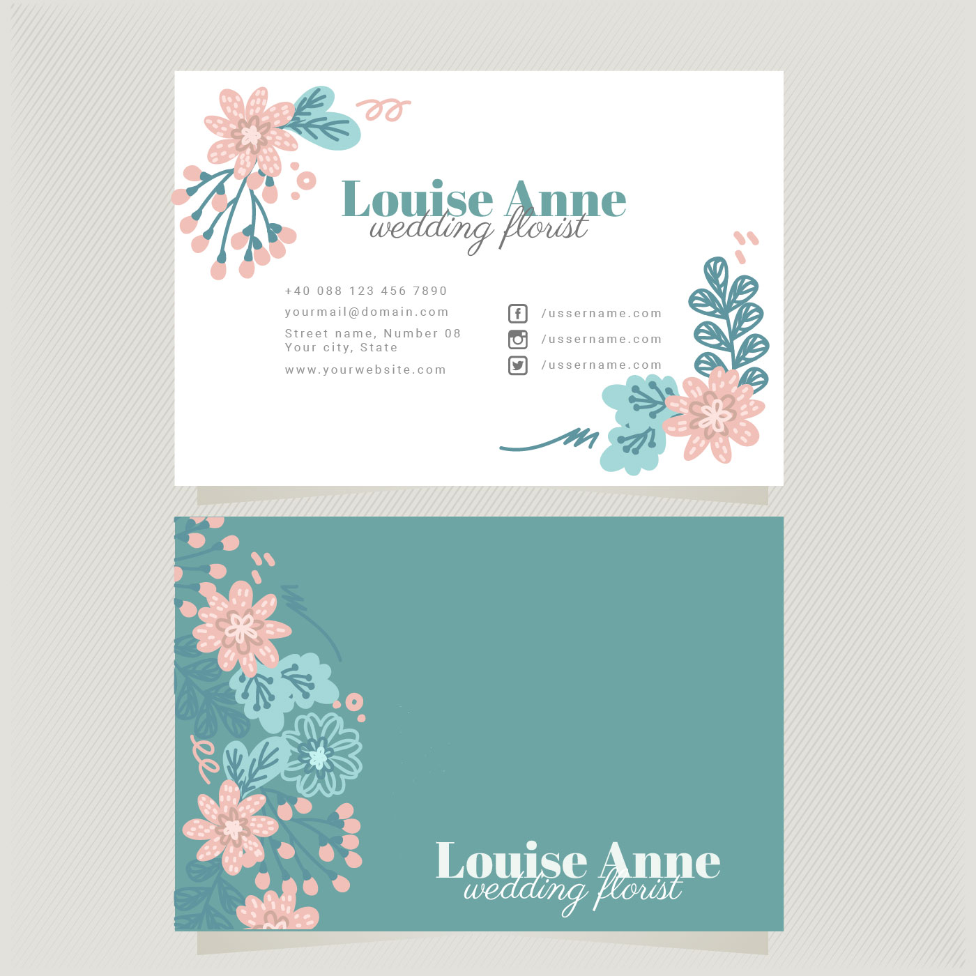 Colorful Template Design For Business Card: Vector Florist Business Card Template