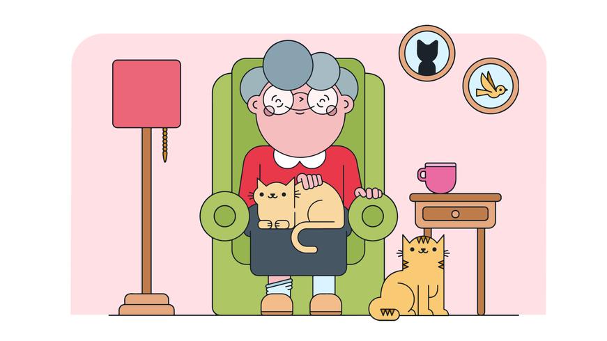 Vecteur de dame chat