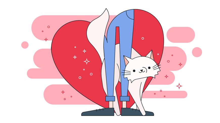 gatto amore vettoriale