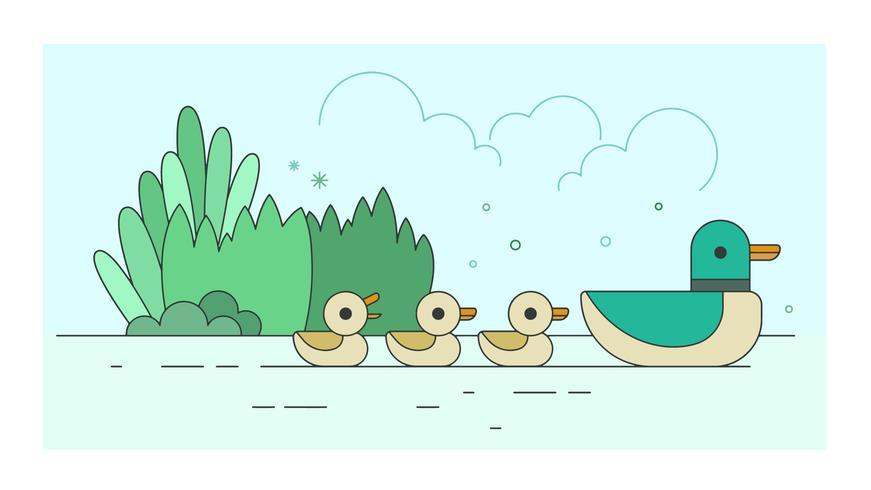 Vetor de família de patos