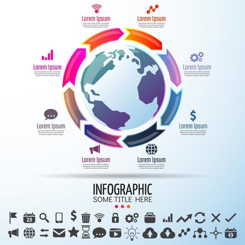 Modèle de conception infographie carte du monde