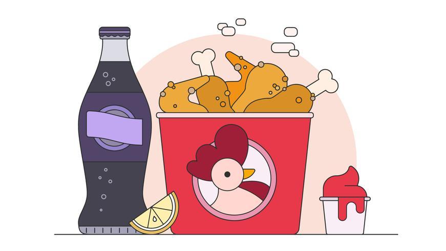 Gebratener Hühnereimer-Vektor