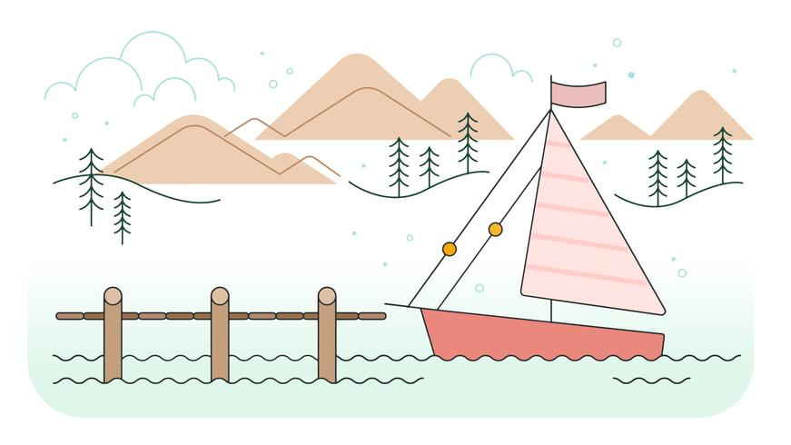 Lake Pier Vector - Download Free Vector Art, Stock Graphics & Images