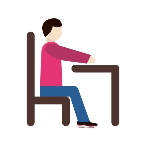 Vecteur assis sur l'icône du bureau