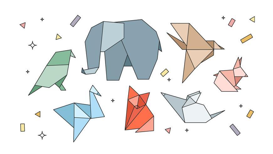 Vecteur animaux origami