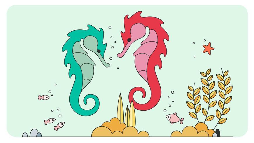 Vettore di cavallucci marini