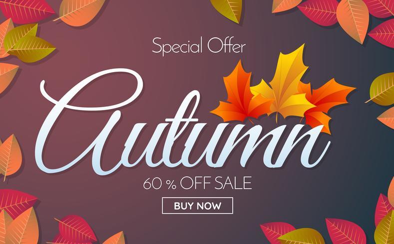 autumn sale template banner Vector background