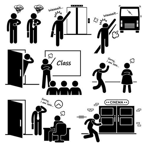 Spät und hetzen für Aufzug, Bus, Klasse, Datum, Vorstellungsgespräch und Movie Cinema Strichmännchen Piktogramme