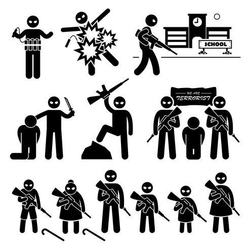 Terroriste Terrorisme Suicide Bombardier Stick Figure Icônes Pictogramme.