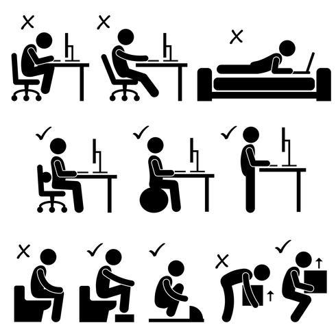 Postura del cuerpo humano bueno y malo Icono de pictograma de figura de palo. vector