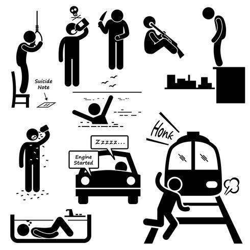 Suicida Cometer Métodos de suicidio Figura de palo Iconos de pictogramas.