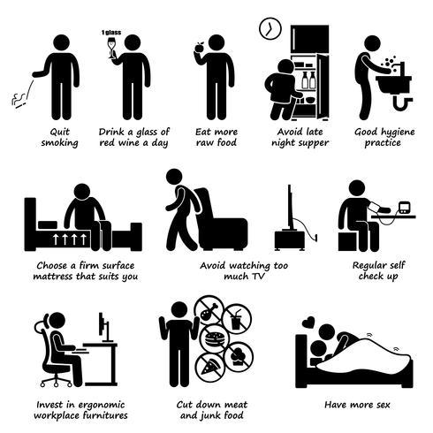 Estilos de vida saudáveis fazem e não furar ícones de pictograma figura. Como se tornar mais saudável.
