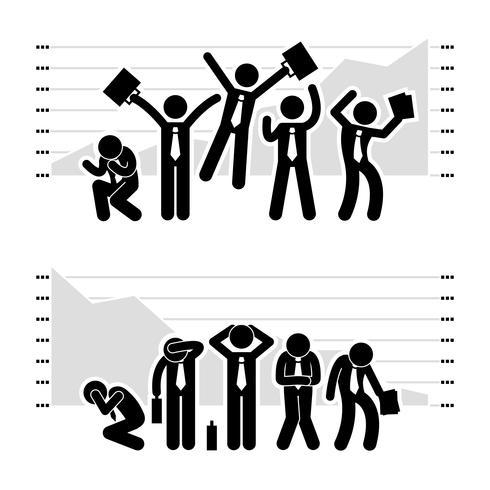 Zakenman Business winnen verliezen in beurs markt grafiek stok figuur Pictogram pictogram.