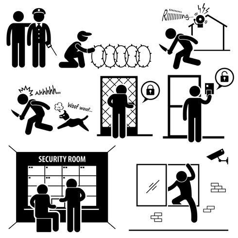Sistema de seguridad Stick Figure Pictogram Icon.