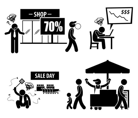 Bad Poor Business Day Stick Figure Pictogram Icons.