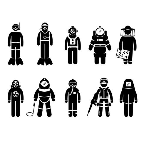 Scuba Diving Dive Deep Sea Spacesuit Biohazard Biodlare Kärnvapen Air Force SWAT Volcano Skyddsdräkt Gear Uniform Wear Stick Figur Pictogram Ikon. vektor