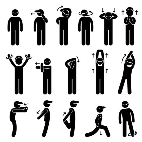 Body Stretching Exercise Stick Figure Pictogram Icon.  vector