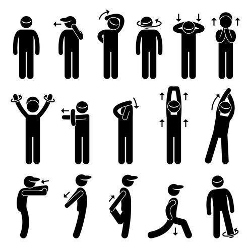 Icona del pittogramma di figura stilizzata di esercizio di stretching del corpo.