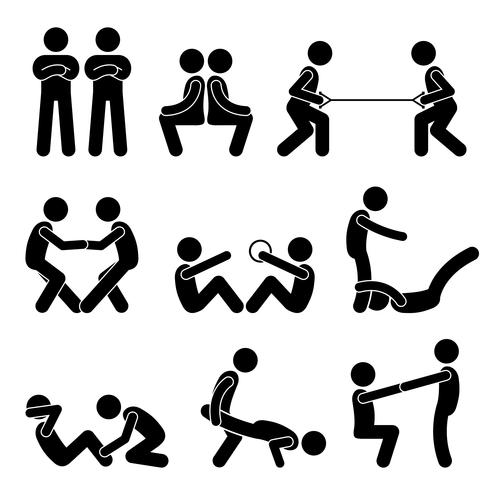 Exercise Workout with a Partner Stick Figure Pictogram Icons. vector