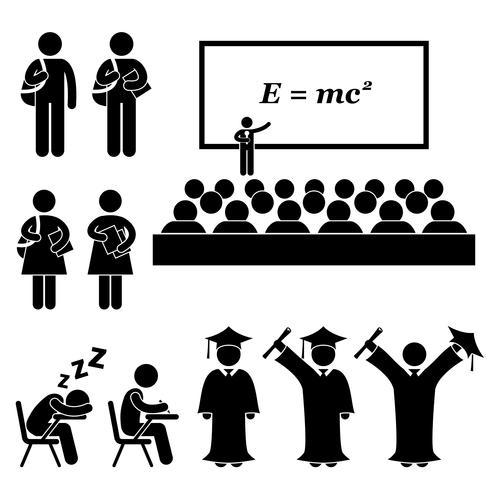 Estudiante Profesor Profesor Colegio Colegio Graduado Graduación Figura Stick Pictograma Icono. vector