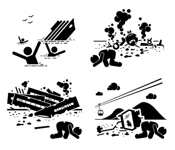 Disaster Accident Tragedy of Sinking Ship, Airplane Crash, Train Wreck, and Falling Cable Car Stick Figure Pictogram Icons. vector