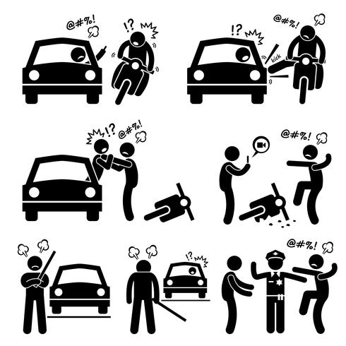 Road Bully Driver Rage Stick Figure Pictogram Pictogrammen.