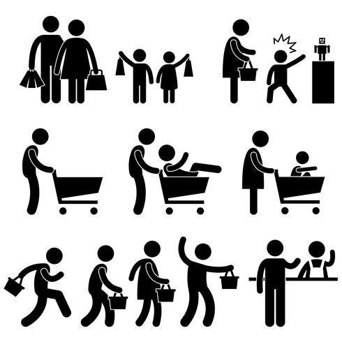 Pictograma de la muestra del símbolo del icono de la promoción de ventas del comprador de las compras de la familia.