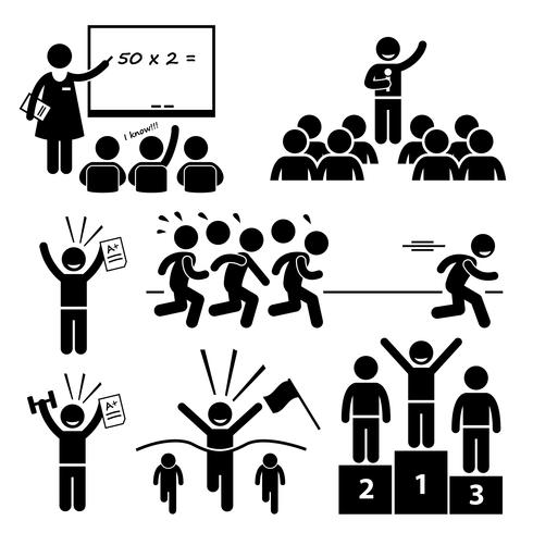 Top Student at School Best Outstanding Special Kid Stick Figure Pictogram Icons.  vector