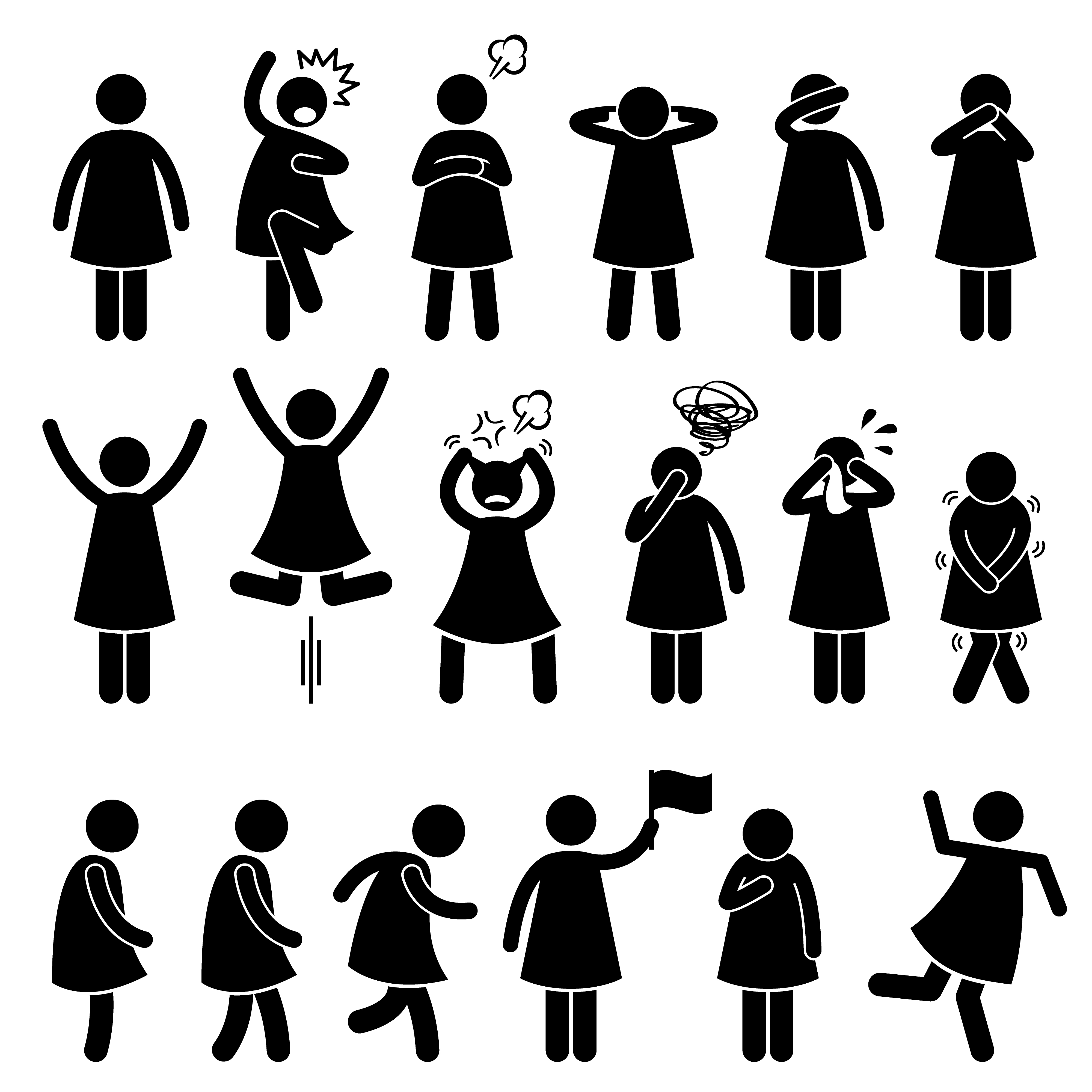 Human Female Girl Woman Action Poses Postures Stick Figure ...