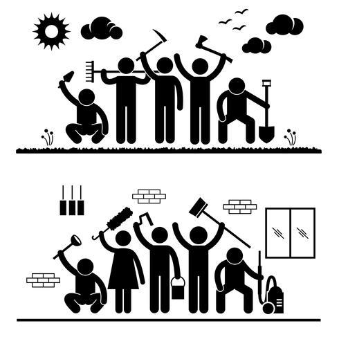 Community Effort Humanity Volunteer Group Cleaning Outdoor Park Indoor House Stick Figure Pictogram Icon. vector