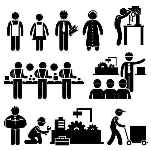 Fabrieksarbeider Engineer Manager Supervisor Werkende stok figuur Pictogram pictogram. vector
