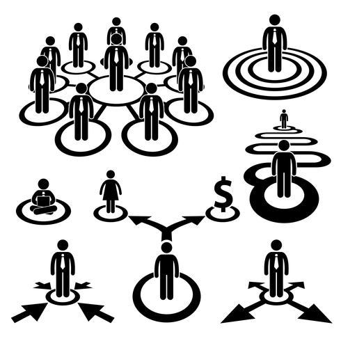 Icona dell'uomo d'affari Workforce Team Stick figura pittogramma. vettore