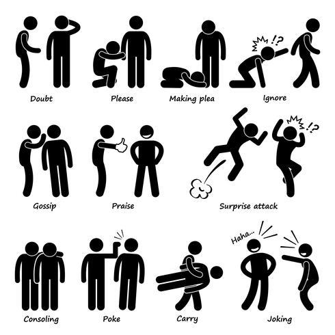 Mensch-Mann-Aktions-Gefühl-Stock-Zahl-Piktogramm-Ikonen.