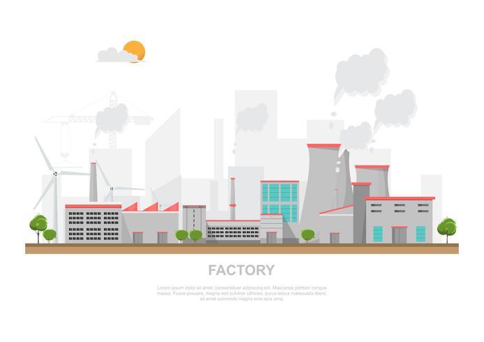 Fabbrica industriale in uno stile piatto.
