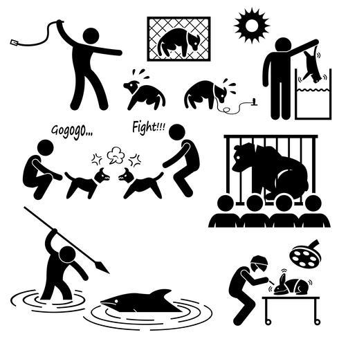 Abuso di crudeltà sugli animali da Human Stick Figure Pictogram Icon.