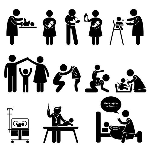 Nanny Mother Father Baby Child Care Stick Figure Pictogram Icon. vector