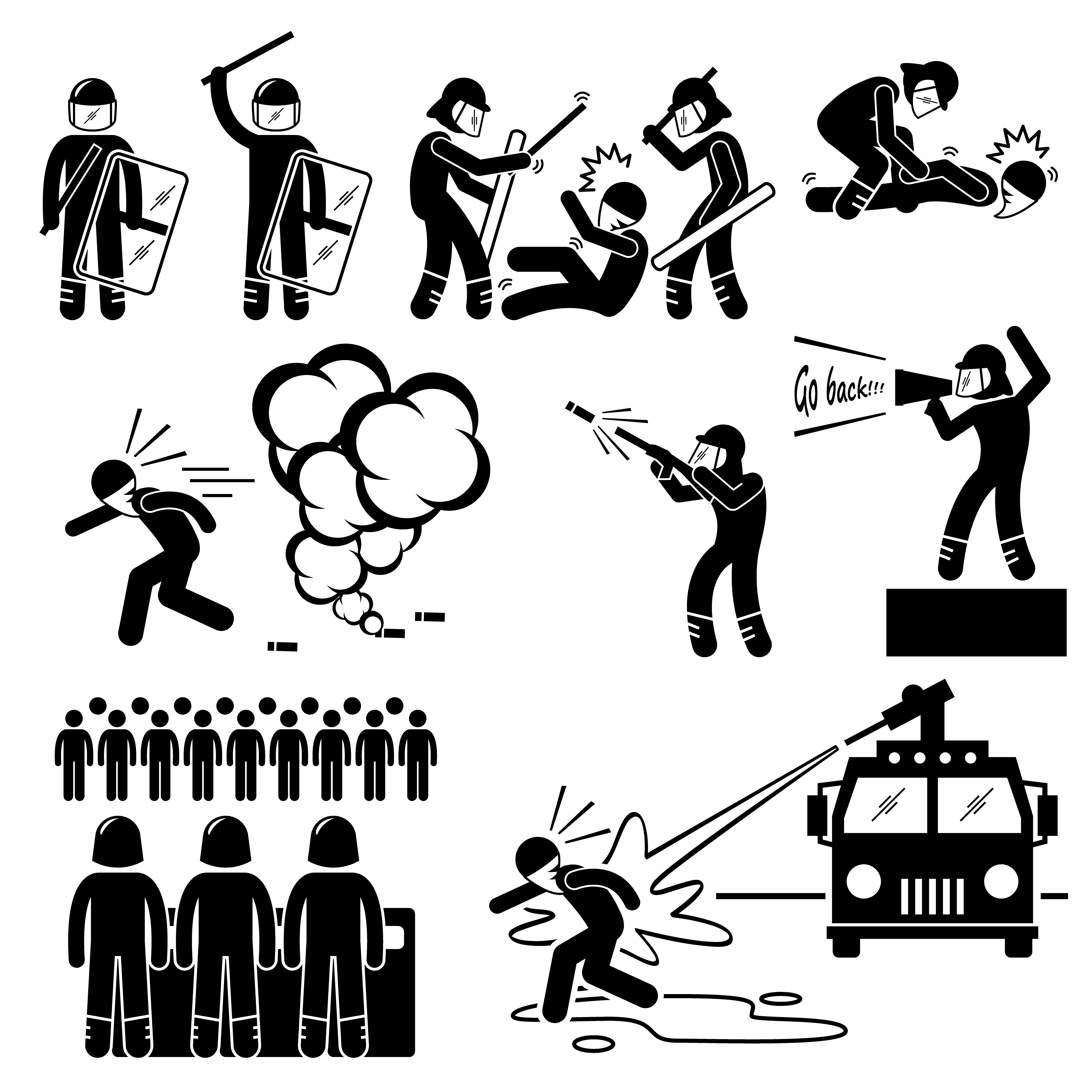 Riot Police Stick Figure Pictogram Icons. - Download Free ...