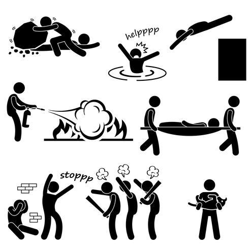 Man Helping Saving Life Rescue Savior Stick Figure Pictogram Icon.  vector