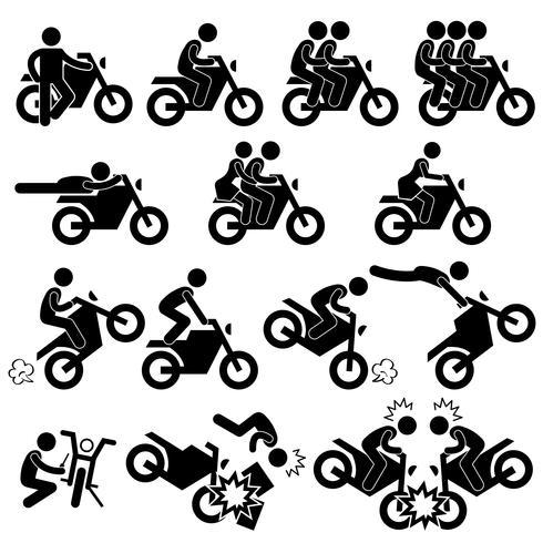 Motorfiets motor Motor fiets Stunt Man waaghals stok figuur Pictogram pictogram.