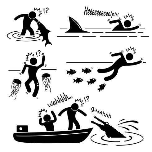 Water Sea River Fish Animal Attacking Hurting Human Stick Figure Pictogram Icon.